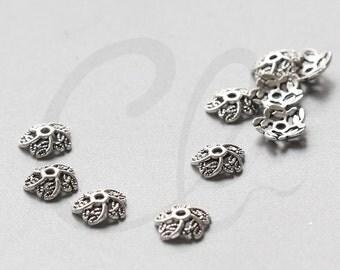 60pcs Oxidized Silver Tone Base Metal Caps-11x3mm (1782Y-C-419)
