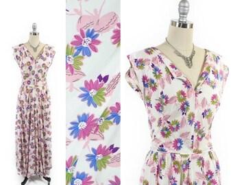40% OFF SALE Vintage 30s Dress // 1930s Dress // 1940s Dress // 40s Dress // NOVELTY Ballerina Dress // Bias Cut Dress // sz Xs/S - 25-26 Wa