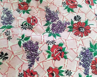 Vintage Full Feedsack, Green Tag Laying Mash, Novelty Floral Purple Lilacs, Red Roses, Pink Daisies