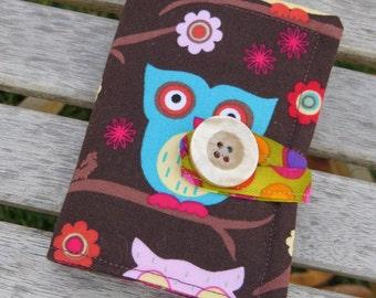 Tea Wallet , Tea Bag Holder, Cute Accessory, Purse Accessory, Colorful Owls on Brown