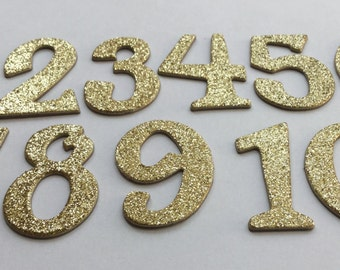 "1.5"" Glitter Chipboard Numbers - Glittered Die Cuts - {Color Choice & Number Selection Available}"