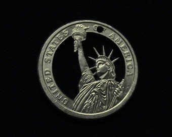 2012 US Dollar - cut coin pendant - w/ Dead and Dying NYC Statue of Liberty