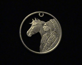 BRAND NEW - Sacajawea Dollar - Cut Coin Jewelry - w Native American Chief in full Head Dress and Horse  - 2012