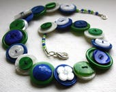 Royal Blue, British Racing Green and Pearlescent Button Necklace
