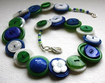 Royal Blue, British Racing Green and Pearlescent Button Necklace Button Jewellery Button Jewelry UK Handmade