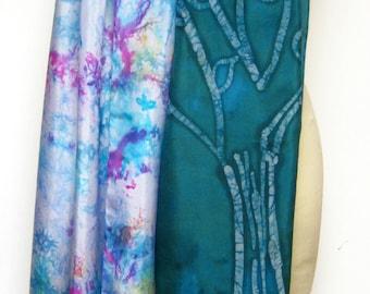 Silk Shawl Hand painted Batik Teal Tree and water pastel