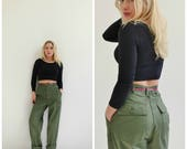 1980s Army Issued Trousers /// Size Small to Medium