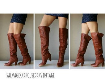 25% OFF SALE 1970s Cognac Over the Knee Boots~Size 5-1/2 (5.5)