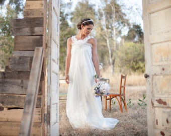 Bohemian flowy silk organza wedding gown