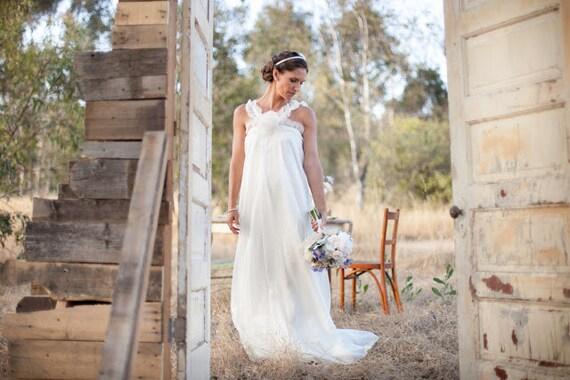 Bohemian flowy silk organza wedding gown