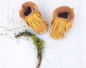 Mustard N Natural Bison Ultra-Fringe Mocc BOOTS Leather Moccasins Shoes Baby and Toddler FREE SHIP in Usa