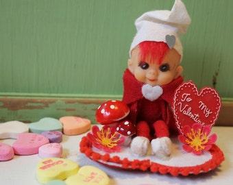 Vintage Rubber Pixie Style Doll with Valentine Love, Valentine Message, White Hat