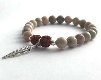 natural coral and rudraksha seed bead mala bracelet with feather charm /spiritual jewelry, yoga bracelet, stretch bracelet, feather bracelet