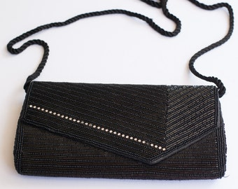 Vintage 1960's Kaiho Beaded Black Evening Bag Clutch with Rhinestone Detail