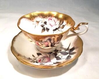 Vintage Gold Teacup Royal Albert Bone China Teacup made in England heavily gilded 24k gold pink roses