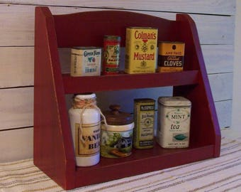 Primitive Spice Rack Step Back Design Farmhouse Kitchen Storage Original Design  by Sawdusty Barn Red / Color Choice