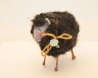 Black Fuzzy Needle Felted Sheep, Felted Black Sheep, Black Sheep of the Family #2481