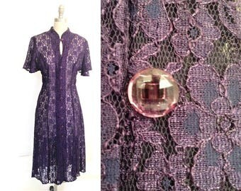 Size 14, Vintage 1990s Dress / Purple Lace, Button Front, Sheer Unlined / 90s Party, Prom,Wedding / Can Be Worn Open as a Duster / Large