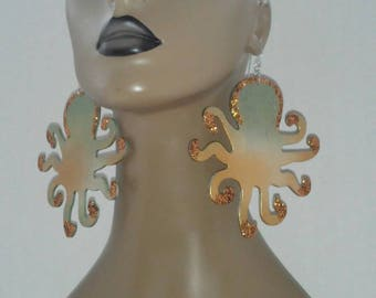 Gorgeous Octopus Wooden Earrings Embellished w/ Beautiful Glitter Tips, Large Earrings, Handmade Earrings, Fashion Earrings, Women's Earring