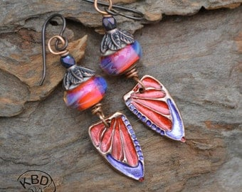 Painted Copper Butterfly Wings with Ice Resin and Lampwork Earrings