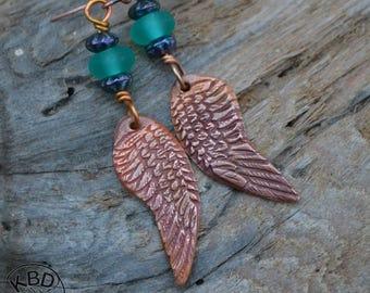 Copper Wings and Lampwork Bead Earrings