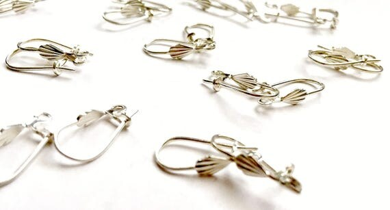 Silver Shell Leverback Wires with Open Ring, 14pr Silverplate Earring Wire Lot, 28pc SilverLeverback Earring Wire Lot, Silverplate Earrings