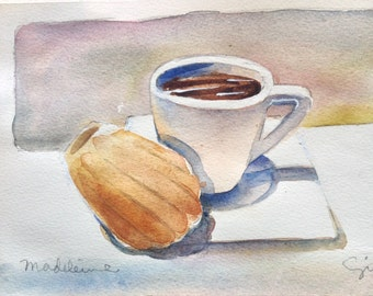 Original watercolor; 'Mamy Therese madeleines with espresso' #5