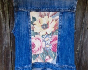 Upcycled Denim Vest GAP Jean Jacket Vintage Glen Court Barkcloth Floral Fabric Shabby Cottage Chic Country Western Cowgirl Boho Chic