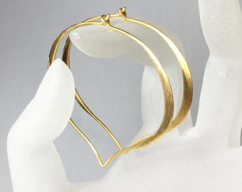 14K Solid Gold Hoops, Extra Large, Large, or Medium, Earrings, Lotus Ear Wires, Brushed Finish, Hand Forged, Made to Order