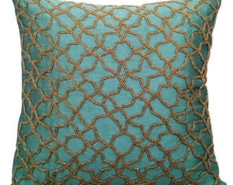 """Teal Accent Pillows, Geometric Pillow, 16""""x16"""" Silk Pillows Covers For Couch, Square Gold Beaded Embroidery Pillows Cover - Teal Geometry"""