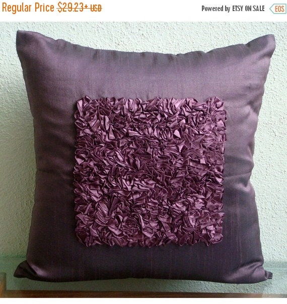 15% HOLIDAY SALE Decorative Throw Pillow Covers Accent Couch Toss Sofa Bedroom 20 Inch Pillow Cover Satin Ribbon Embroidery Plum Vintage Lov