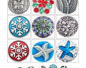 MERZIEs 18m U PIC snowflake blue red green starfish butterfly dragonfly crystals weave SNAP sp button - SHIPs from US - Combined Shipping