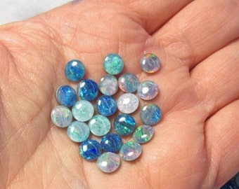 25% Off SALE Australian Opal Cabochon Round 6mm, Triplet Natural, QTY2, Intense Color Play  Blue Green Red, Natural Gemstone