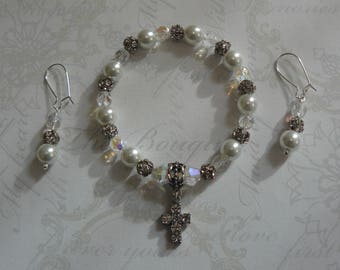 Wedding Jewelry, Bridal Jewelry, Pearl and Rhinestone Set, Bracelet and Earring Set, For Brides, Gifts for the Bride, Wedding Gifts, Unique