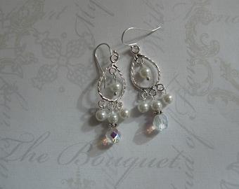 Wedding Earrings, Tiny Chandeliers, Pearl & Crystal Drop Earrings, White Wedding, Handmade Jewelry, Bridal Jewelry, For the Bride, Wedding