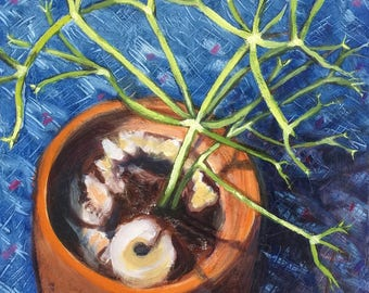 Pencil Plant Succulent Original Oil Painting on cradled wood panel