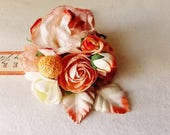 Peach Pie Roses Mixed bunch Vintage style Millinery Flower spray Bouquet floral corsage