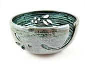 Pottery Yarn bowl , handmade ceramic yarn bowl, handmade knitting bowl, Green yarn bowl - In stock