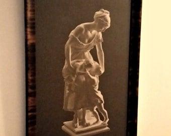 Framed Print Mother & Children Sculpture Royal Sepia, Madrassi Broderkyssen, Brother Kiss, Sweden vintage from anothertimeantiques