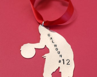 Personalized Basketball Player Christmas Tree Ornament - Custom Basket Ball Ornament Xmas Gift - Aluminum Hand Stamped Holiday - 2016