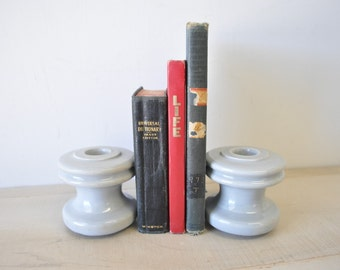 1940s creamy gray electrical pole insulator--book end, display, industrial decor
