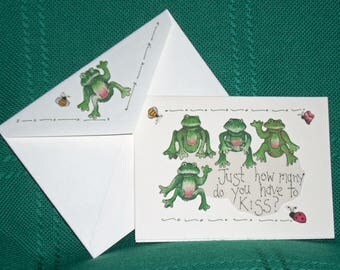 NOTECARDS---More Funny Frogs with Sayings in Fabric Applique