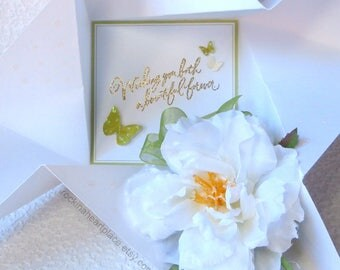 WEDDING CONGRATULATIONS or Bridal Shower Card, floral and butterfly themed, folded pinwheel style, in white and green