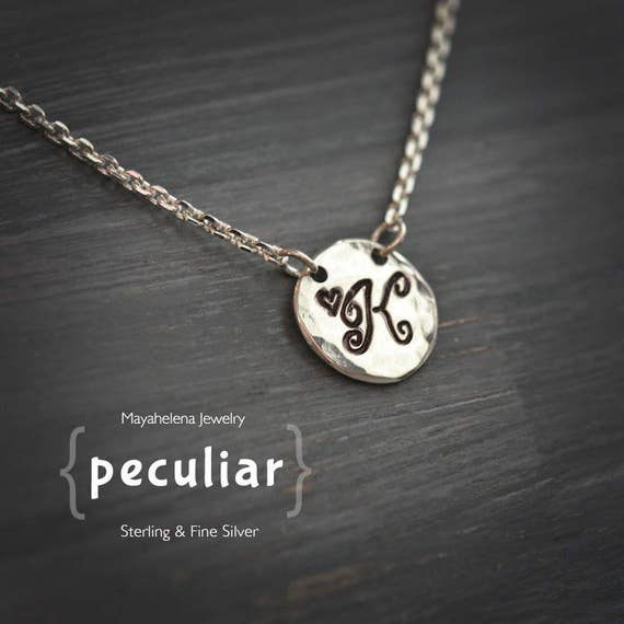 Peculiar - Monogram Tag Charm  Sterling Silver Mecklace