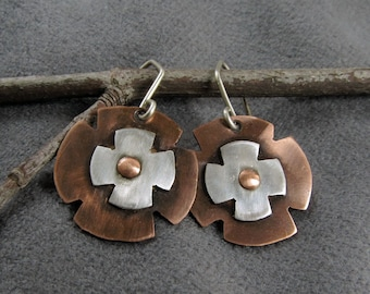 Mixed metal, handmade, copper and sterling silver earrings