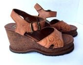 Vtg Tooled Leather Wedge Sandals Cork Heel 6.5 7