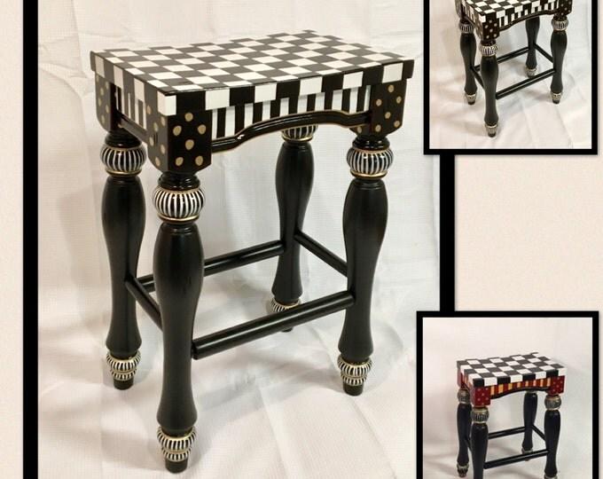 Whimsical painted bar stool, Turned Leg Stool, Custom Painted Bar Stool, Painted Saddle Seat stool