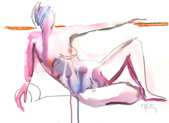 Nude painting- Original watercolor painting of Nude #1398 by Gretchen Kelly