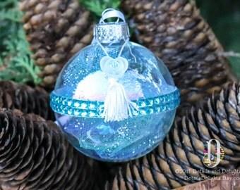 Elegant Tassel Flower Aqua Teal Turquoise Blue Diamond Glass Round Ornament, Tulle Crystal Bead Gem Christmas Holiday Tree Decor