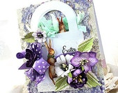victorian style easter card-EASTER BASKET bunny RABBITS- easter wishes greeting